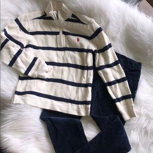 Polo Boys Corduroy Navy Pants &Cream Zip Shirt Sz5